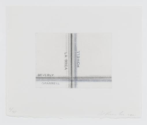 Ed Ruscha, Los Francisco, San Angeles, La Brea, Etching, Print