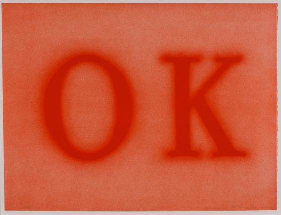 Ed Ruscha, OK (State II) 1990, Signed Lithograph