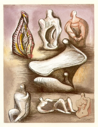 Henry Moore, Seven Sculpture Ideas, Etching