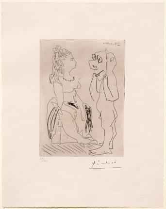Pablo Picasso, Homme Debout Avec Masque Devant Femme Assise, etching