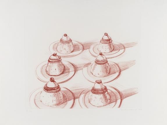 Wayne Thiebaud, Six Desserts, Etching