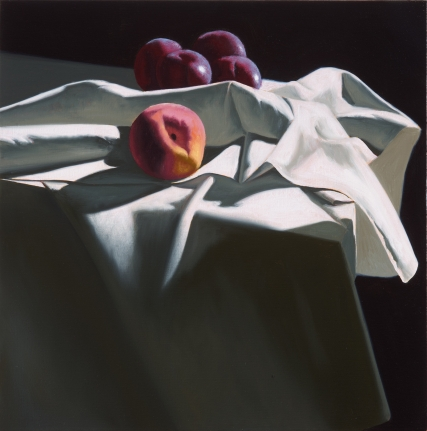 Bruce Cohen, Still Life with Peach and Four Plums, Oil on canvas, painting
