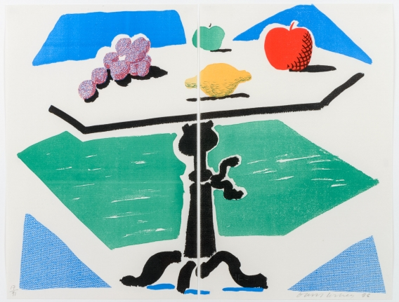 David Hockney, Apples, Grapes, Lemon on a Table