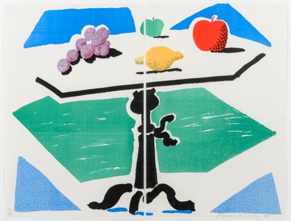 David Hockney, Apples, Grapes, Lemon on a Table