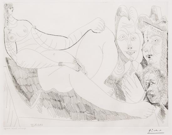 Pablo Picasoo, Femme au Lit aceve Visiteurs, 156 Series, Etching