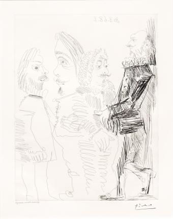 Pablo Picasso, Quatre Hommes en Costume, 347 Series, Etching