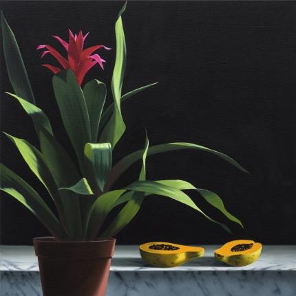 Bruce Cohen, Still Life with Papaya, Oil on canvas