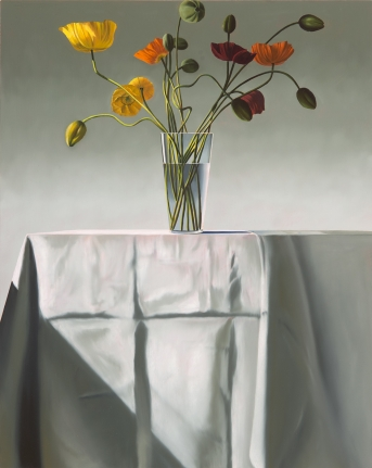 Bruce Cohen, Poppies on Tablecloth, 2017, Still life painting, Oil on panel