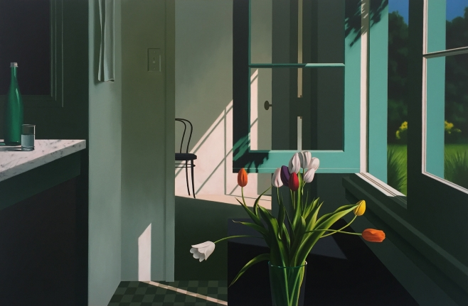 Bruce Cohen, Interior with White Tulips Plus On Orange Tulip, Oil on canvas