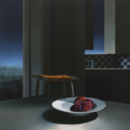 Bruce Cohen, Interior with Peaches and Evening Sky, Oil on canvas