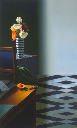 Bruce Cohen, Interior with Poppies in Striped Vase, Oil on canvas