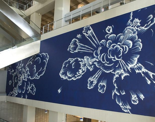 Gary simmons artists metro pictures for Dallas cowboys stadium wall mural