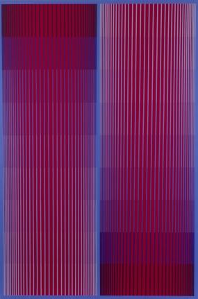 optical art, blue and red art, richard Anuszkiewicz