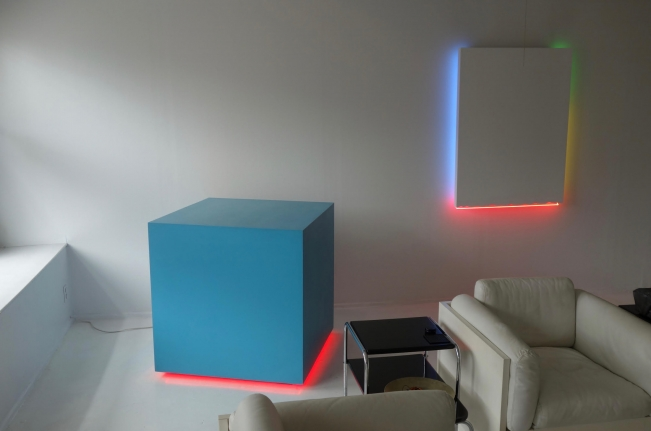 Blue Cube with Red Neon, 1982 (left)