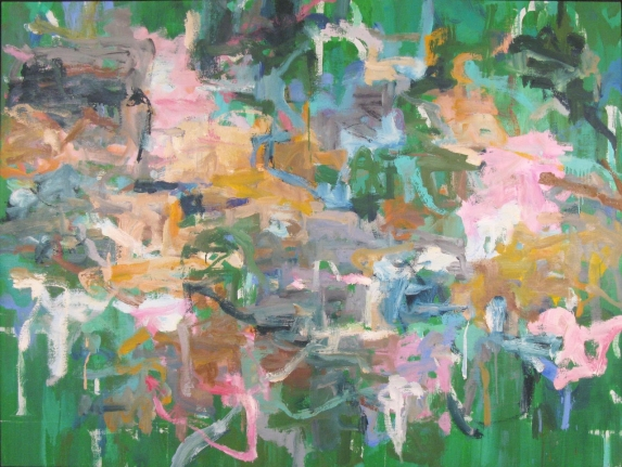 green japanese abstract painting
