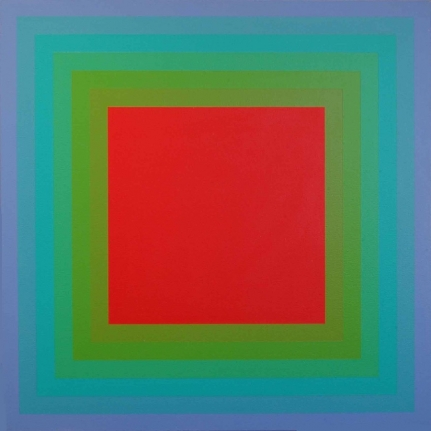 Richard Anuszkiewicz centered square painting, red, purple, green