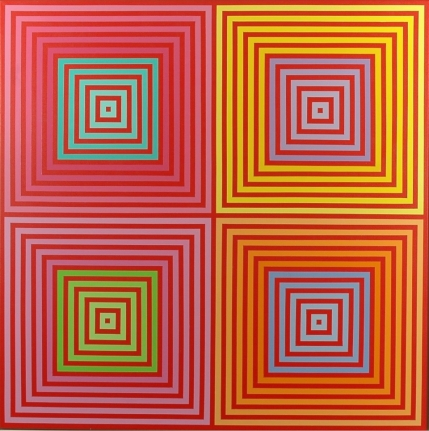 Richard Anuszkiewicz op art four on four painting
