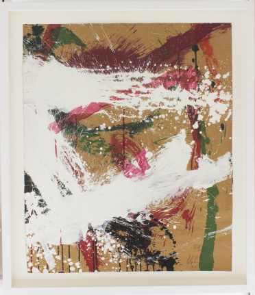 Norman Bluhm works on paper brown white messy strokes