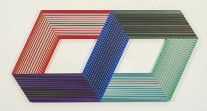Richard Anuszkiewicz Op art square sculptural painting, transluminance series