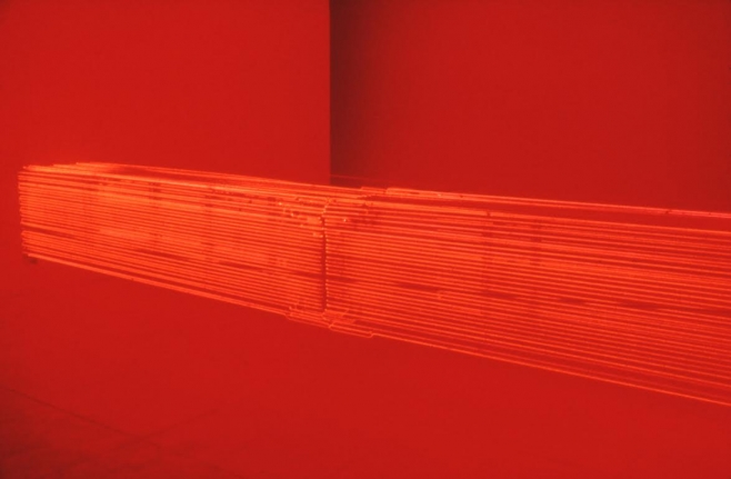 Red Neon from Wall to Wall, 1968, Neon, steel support