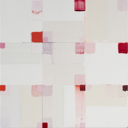 roberto caracciolo red pink square abstract painting