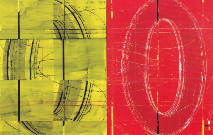 David row yellow and red circle painting