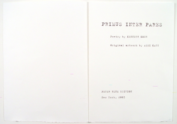 Title page from Primus Inter Pares