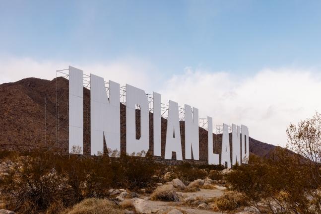 "Installation of Nicholas Galanin,Never Forget, 2021, steel, paint, 59' 4"" x 360' 7"", Coachella Valley, CA"