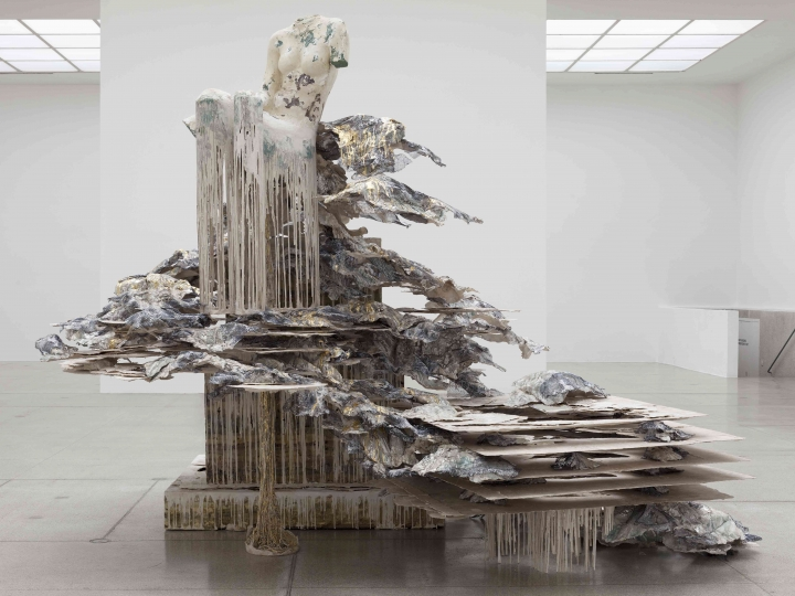 A polymer gypsum dripping sculpture by the artist Diana Al-Hadid