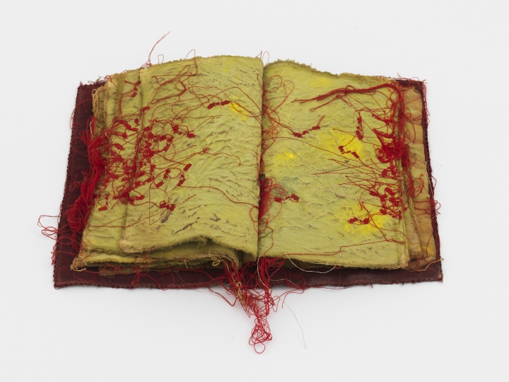 Maria Lai, an Italian textile and fiber artist, artwork of a sewn book available for sale at marianne boesky gallery