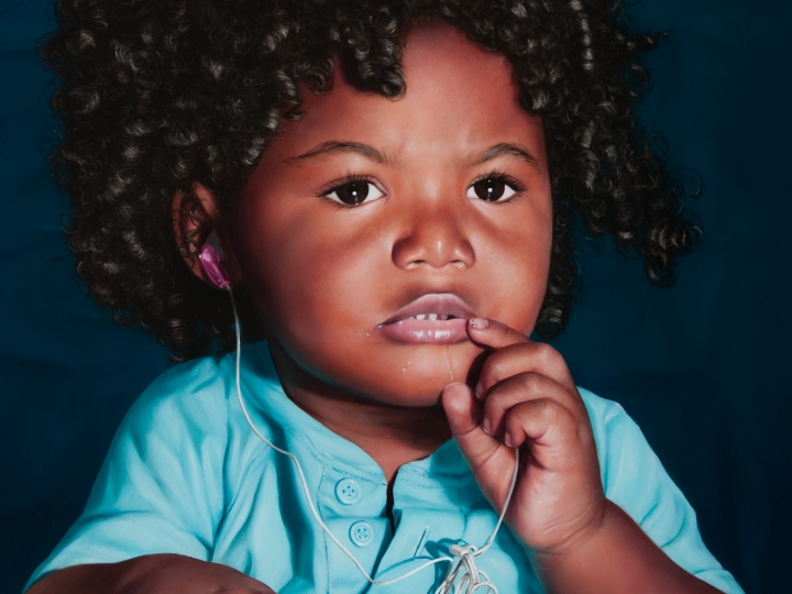 KATIE MILLER Boy with a Tangled Earphone 2014, oil on panel, 16 x 12 inches.