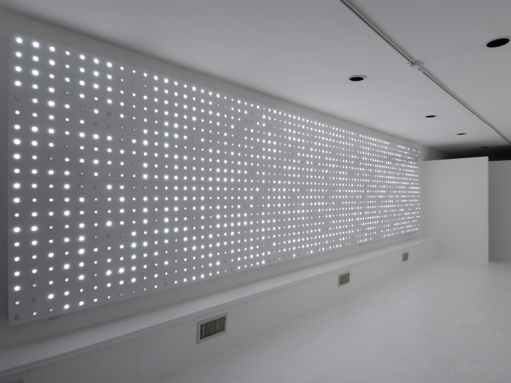 LEO VILLAREAL  Origin  2006, LEDs, circuitry, microcontrollers, aluminum and wood, 80 x 320 x 3 inches inches. Installation View: CONNERSMITH.