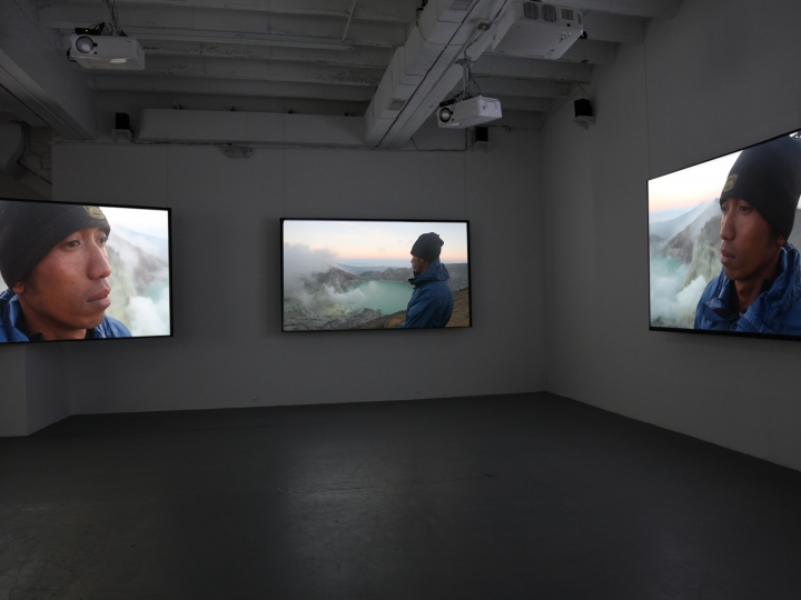 JANET BIGGS A Step on the Sun 2012, 5 channel video installation, run time: 9:22. Installation view: Conner Contemporary Art.