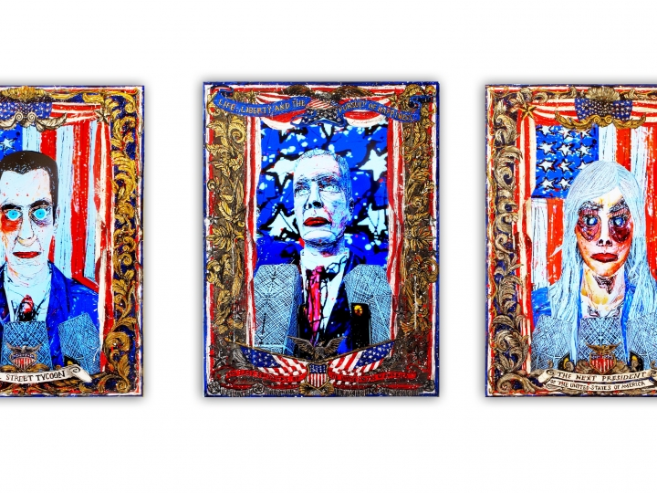 FEDERICO SOLMI American Circus (Installation view) 2014, 3 video painting, acrylic paint on plexiglass, gold and silver leaf, video loop