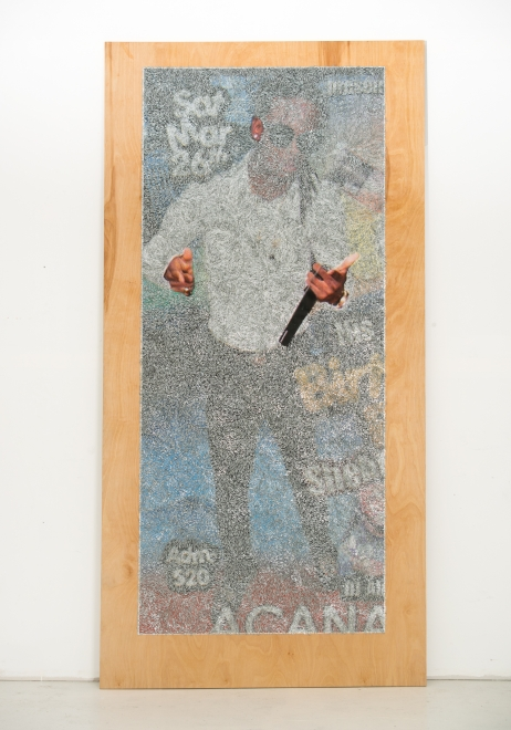 Wilmer Wilson IV: Afr, 2017, staples and pigment print on wood, 96 by 48 by 1½ inches.