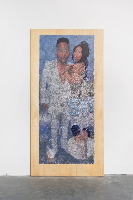 Wilmer Wilson IV: His 2, 2017, staples and pigment print on wood, 96 by 48 by 1½ inches.