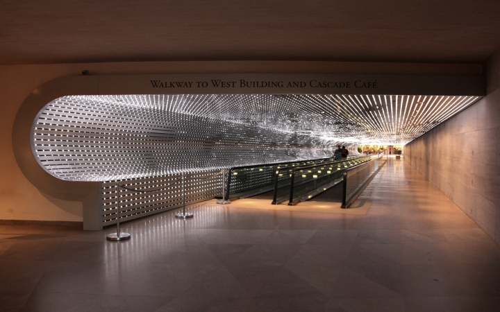 Leo Villareal Multiverse, 2008. White LEDs, custom software, electrical hardware, 200 ft. long.