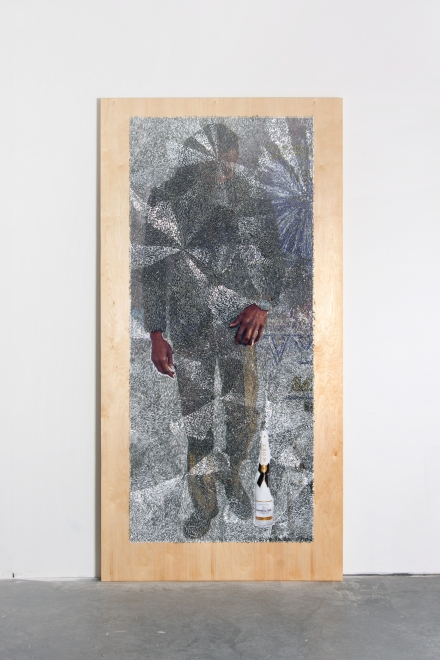 Wilmer Wilson IV: Nev, 2017, staples and pigment print on wood, 96 by 48 by 1½ inches.