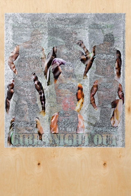 WILMER WILSON IV  GIRLS NIGHT OUT, 2016, mixed media on wood, 72 x 48 inches