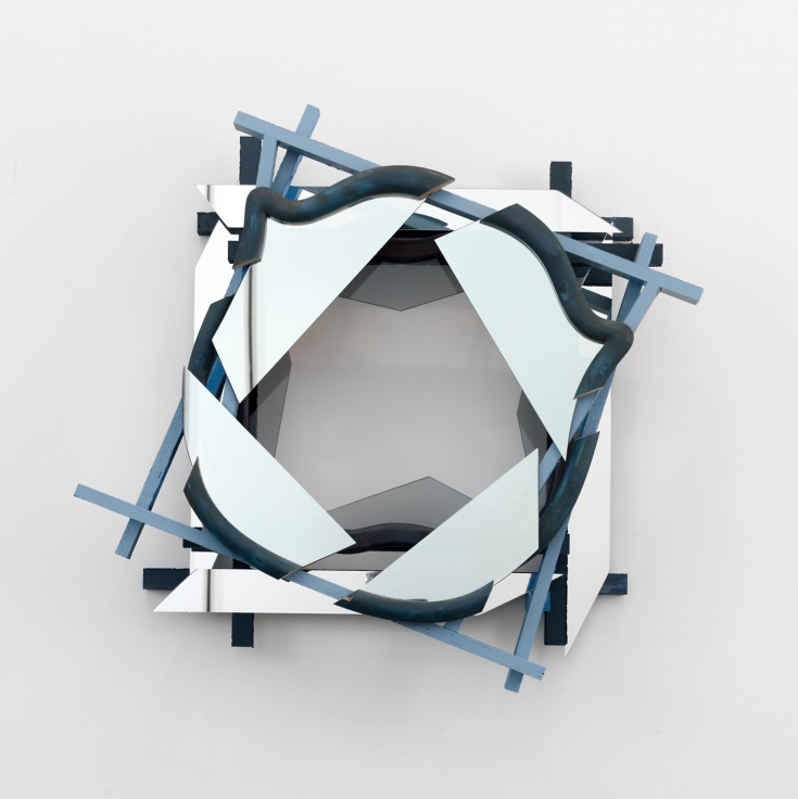 , HEATHER ROWE Shifted Oculus (blue), 2013 Wood, mirrored glass, mirror, paint, wallpaper