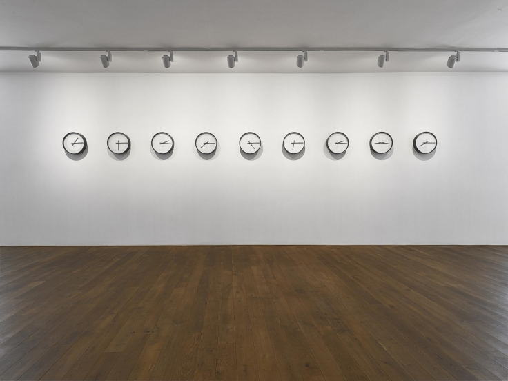 , KATIE PATERSON Timepieces (Solar System), 2014 Nine adapted clocks Each: 17 11/16 x 17 11/16 x 3 11/16 in. (45 x 45 x 9.5 cm) Edition of 9