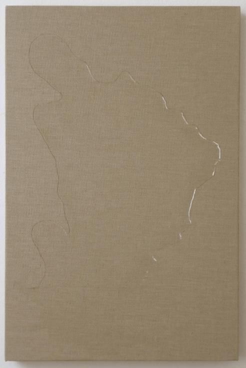 , HELENE APPEL Spilled Water, 2014 Watercolor on linen 32 5/8 x 21 1/4 in. (83 x 54 cm)