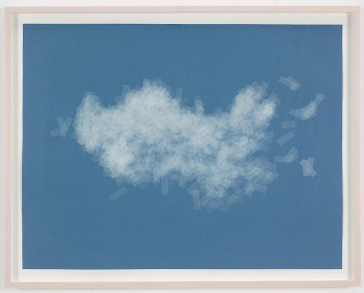 , SPENCER FINCH, Cloud (cumulus humilis, Australia), 2014, Scotch tape on paper, 19 3/4 x 25 1/2 in. (sheet), 21 5/8 x 27 1/2 in. (framed)