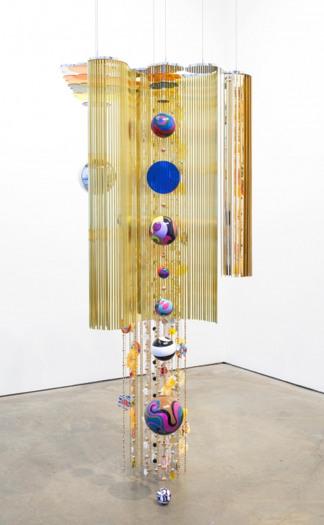 , Mariola, 2015, Aluminum, polyester and paper flowers, 89 x 42 x 32 inches, 226.1 x 106.7 x 81.3 cm