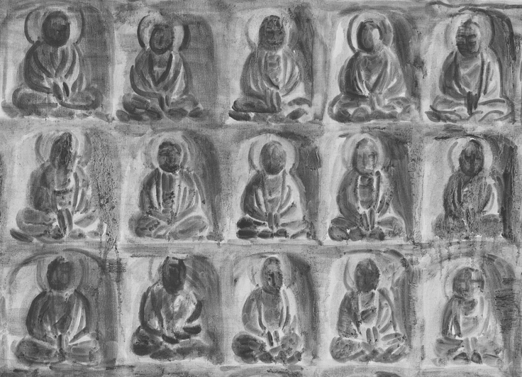 , SHI ZHIYINGRockCarving of Thousand Buddhas(detail),2014-15Oil on canvas78 11/16 x 118 1/16 in. (200 x 300 cm)