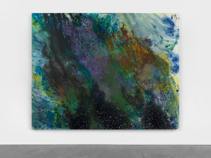 green, purple, blue, gestural abstract overlayed on canvas