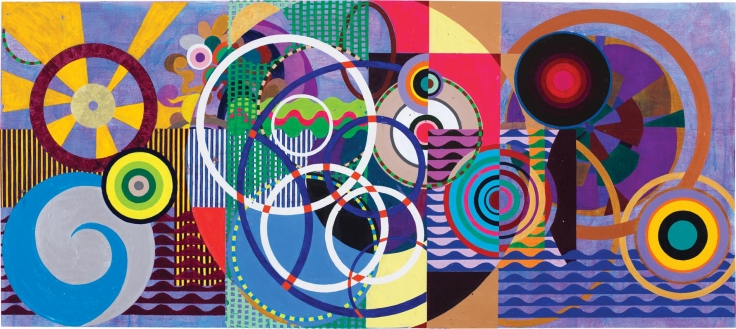 , Maracorola, 2015, Acrylic on canvas, 50 3/8 x 113 3/4 inches, 246 x 299 cm