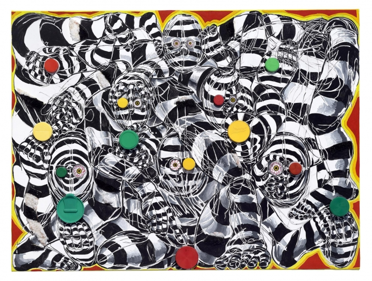 , TRENTON DOYLE HANCOCK, Bloodshot Eyes, Trippy Patterning, Red, Green,and Yellow Coloration. Yep, This Piece Must beabout Traffic Lights.,2016. mixed media on canvas, 40 x 30 x 1 1/2 in.