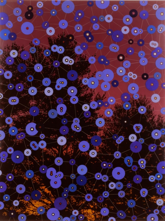 , FRED TOMASELLI, Blue Circles, 1995, Pills, acrylic, resin on wood, 74 x 52 in.