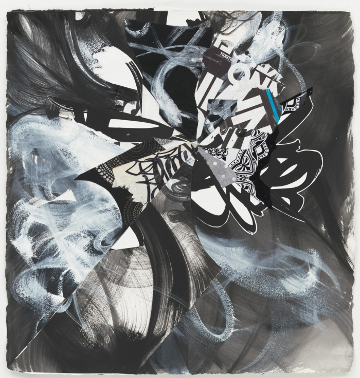 , SHINIQUE SMITHWerewolf Thunders in the Village,2014Ink, acrylic, fabric, and collage on paper23 1/2 x 23 in. (59.7 x 58.4 cm)